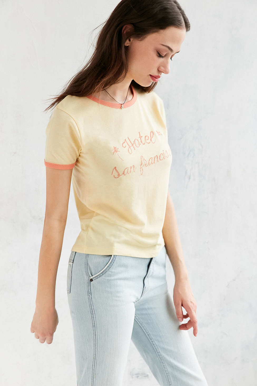 Urban outfitters Hotel San Francisco Ringer Tee in Yellow | Lyst