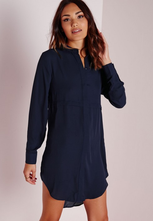 Missguided Oversized Shirt Dress Navy in Blue | Lyst