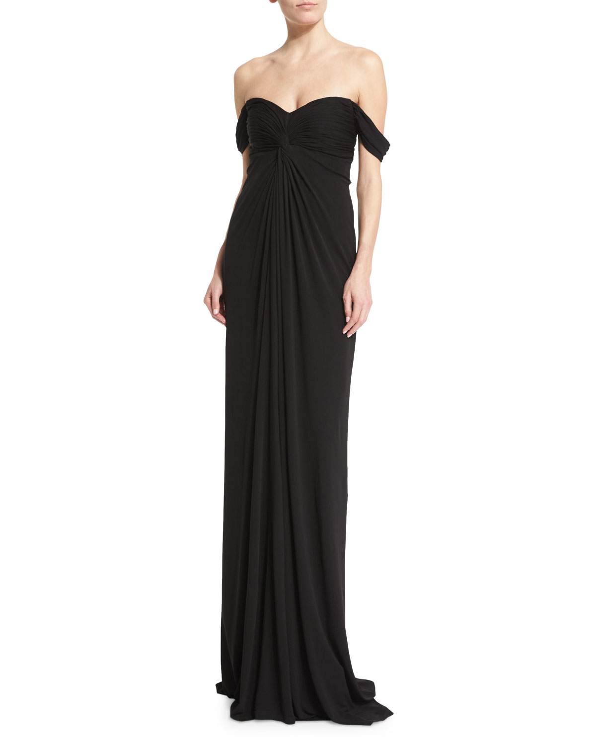 Lyst - David Meister Off-the-shoulder Jersey Column Gown in Black