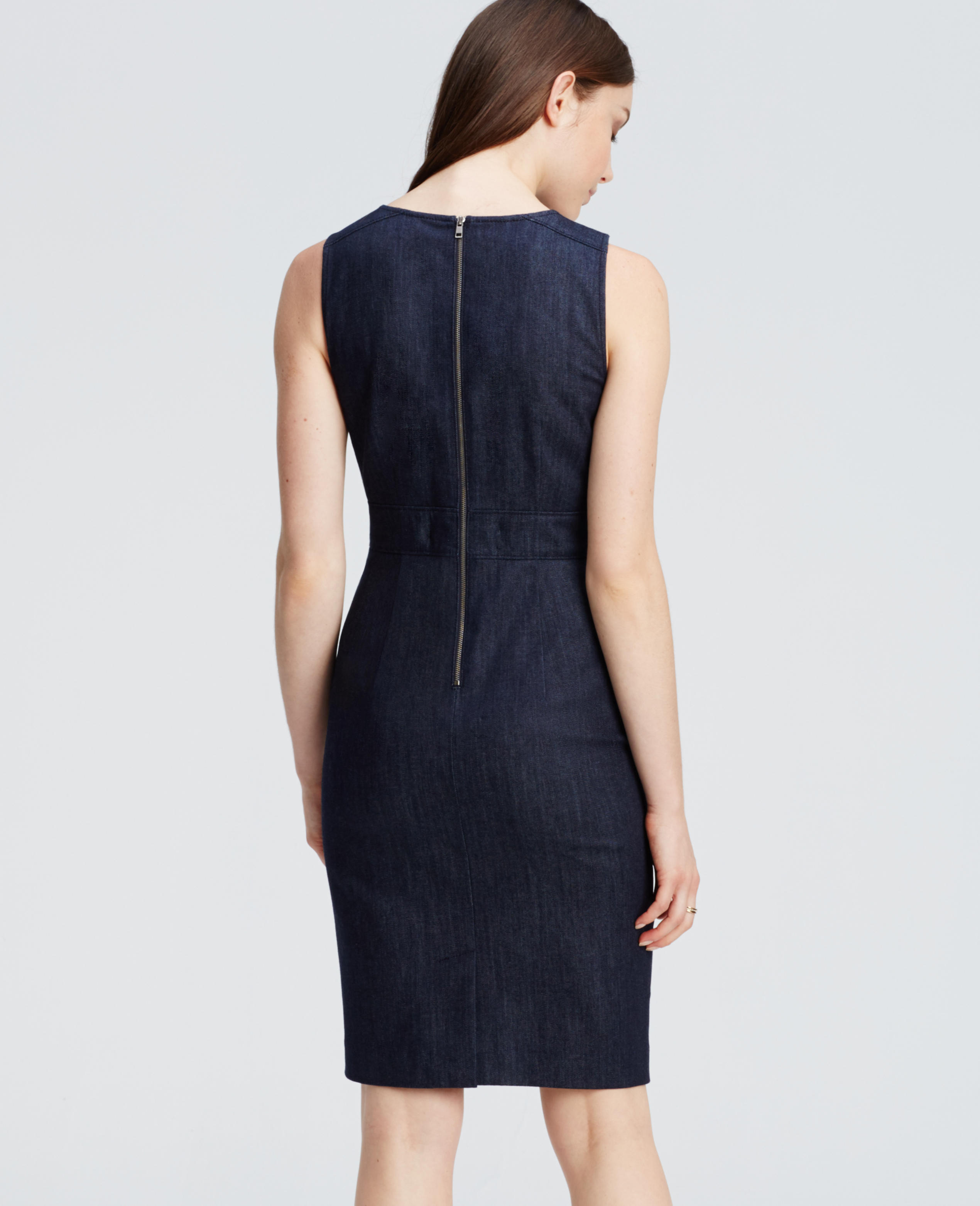 Ann taylor Denim Sheath Dress in Blue | Lyst