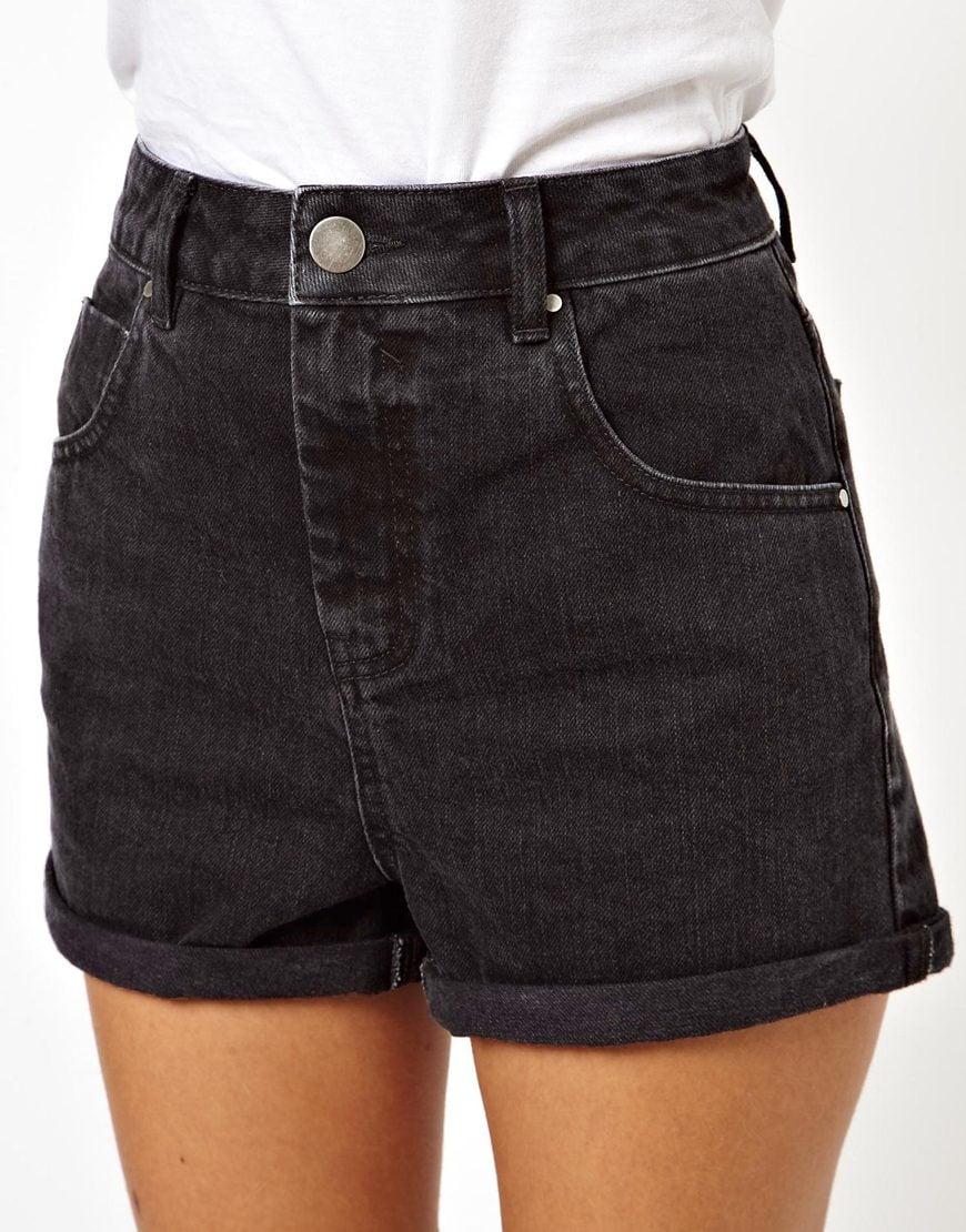Lyst - Asos High Waist Denim Mom Shorts In Black in Black