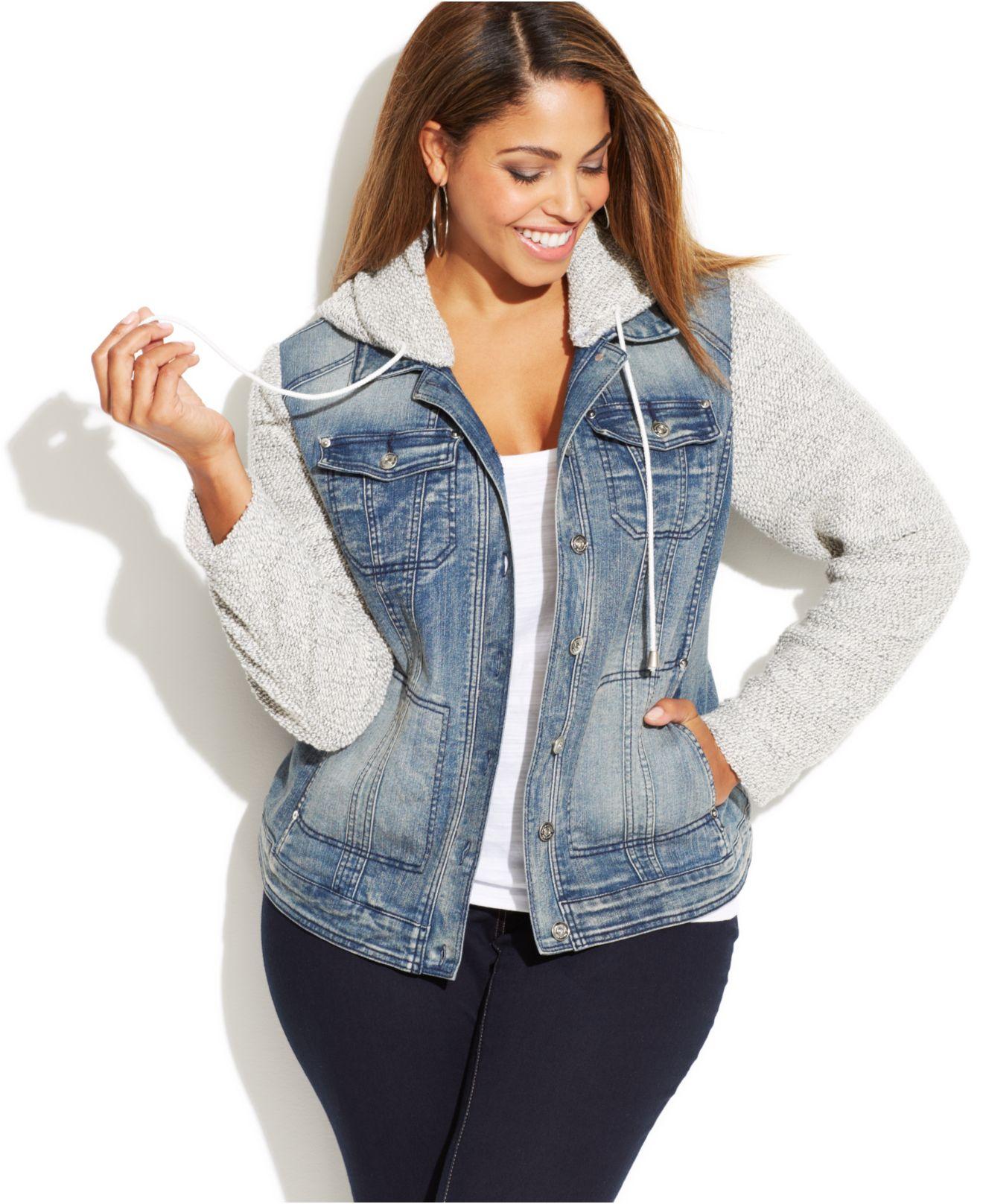 Inc international concepts Plus Size Denim Hoodie Jacket in Blue ...