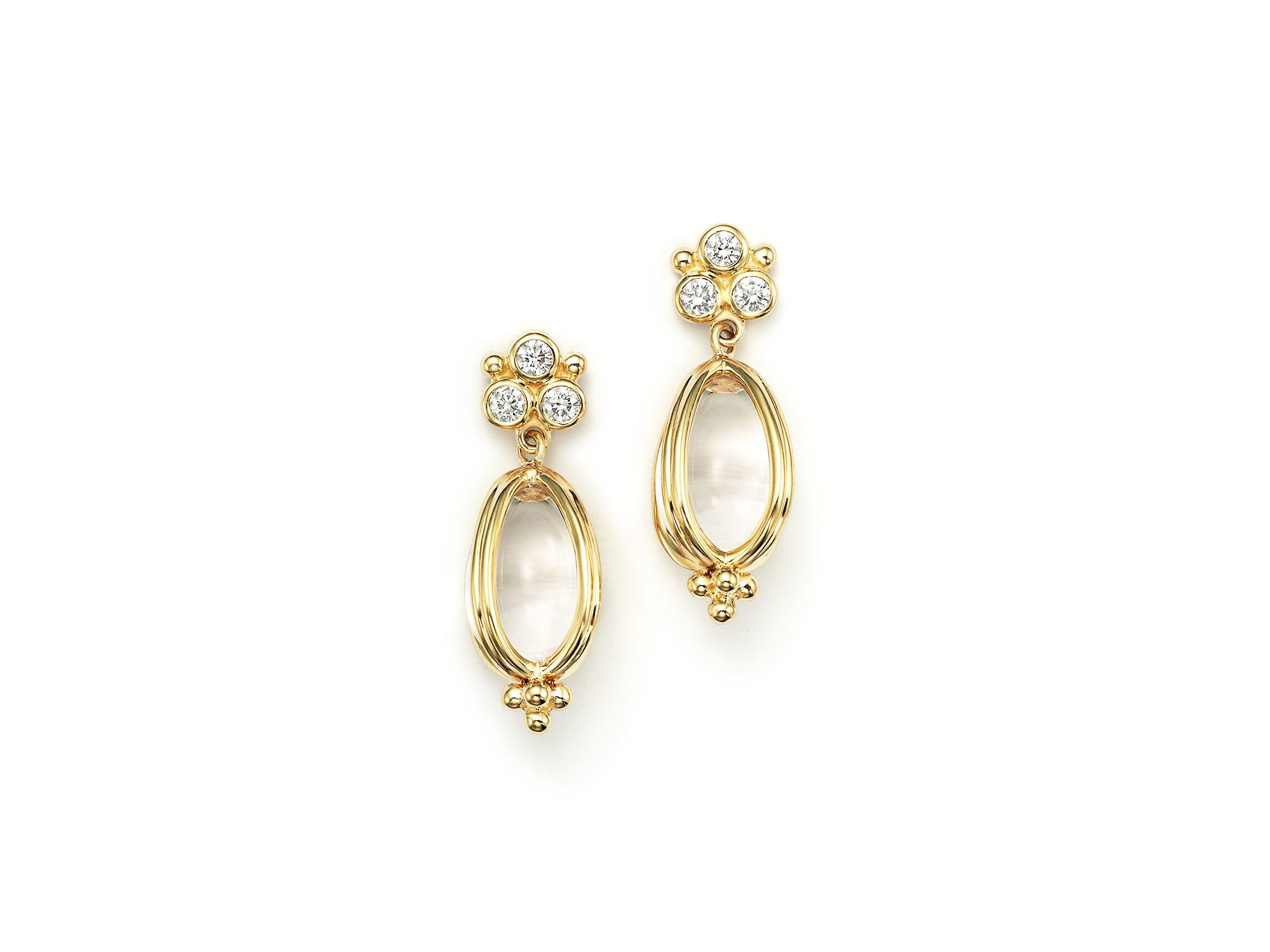 temple st clair 18k gold classic amulet earrings with