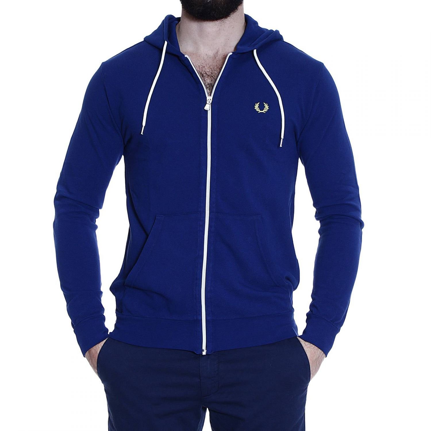 fred perry sweater sweetshirt piquet with hoodie in blue. Black Bedroom Furniture Sets. Home Design Ideas