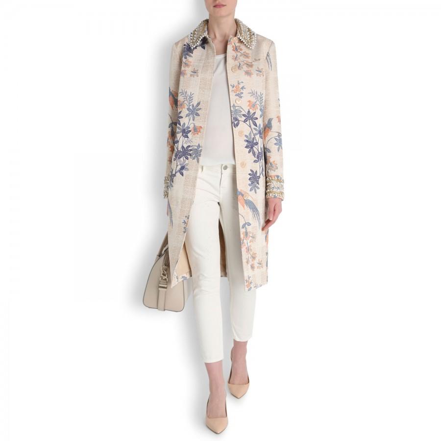 53574a1f7ee3 Tory Burch Kensington Embellished Tweed Coat - Lyst