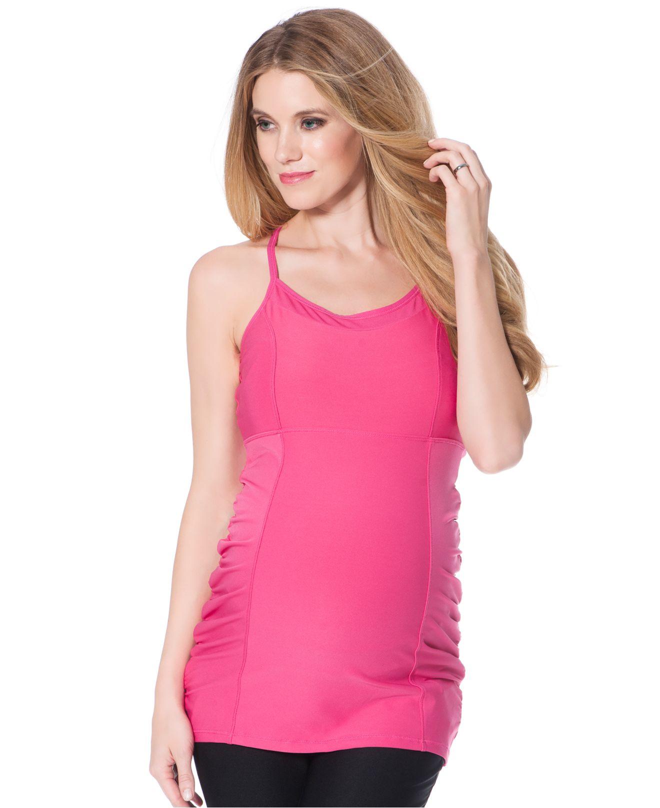 9516436ea9609 Lyst - Jessica Simpson Maternity Spaghetti-Strap Cross-Back Tank Top ...