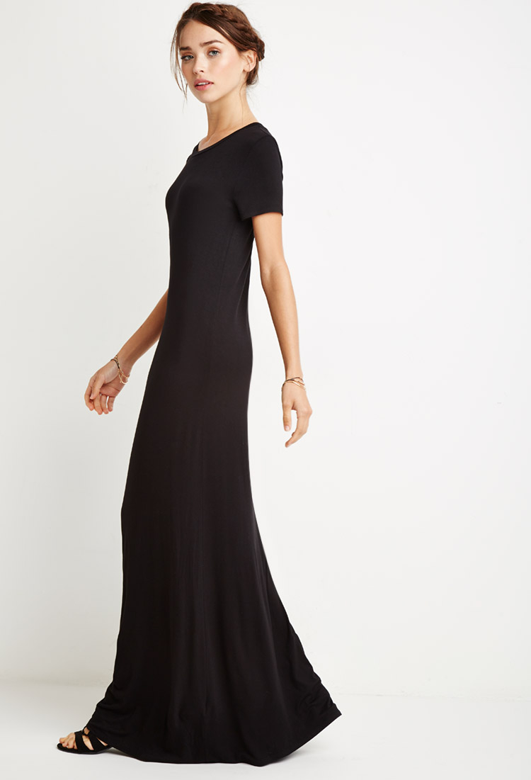 Forever 21 Maxi T-shirt Dress in Black | Lyst