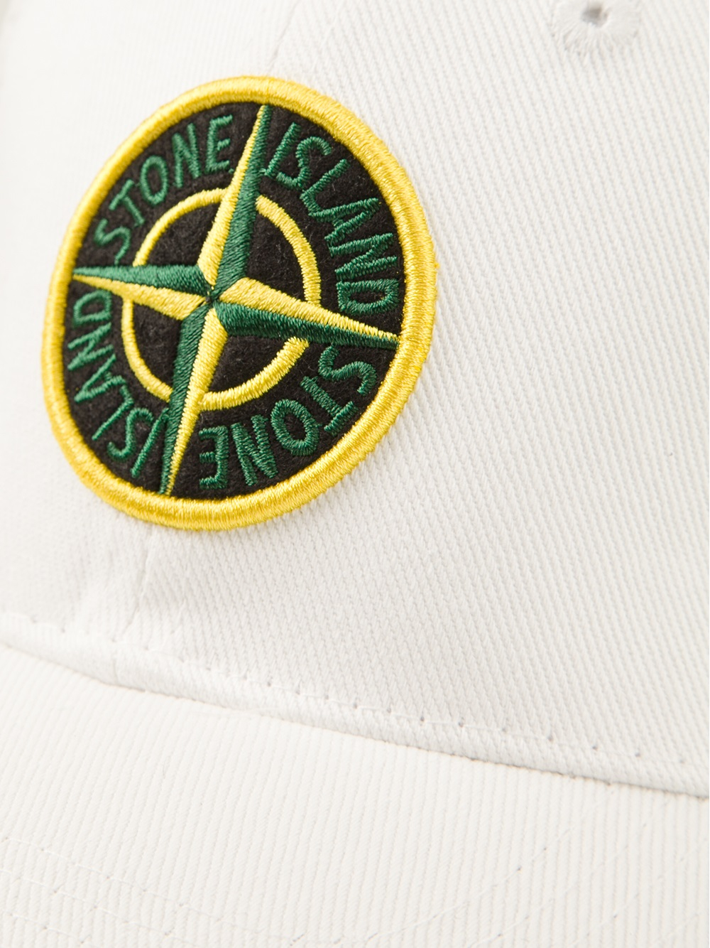 lyst stone island logo baseball cap in white for men. Black Bedroom Furniture Sets. Home Design Ideas