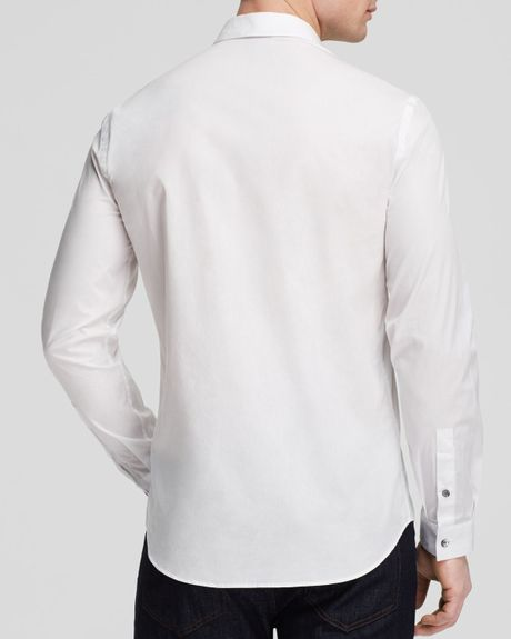 Mcq by alexander mcqueen sheehan woven button down shirt for Slim fit white button down shirt
