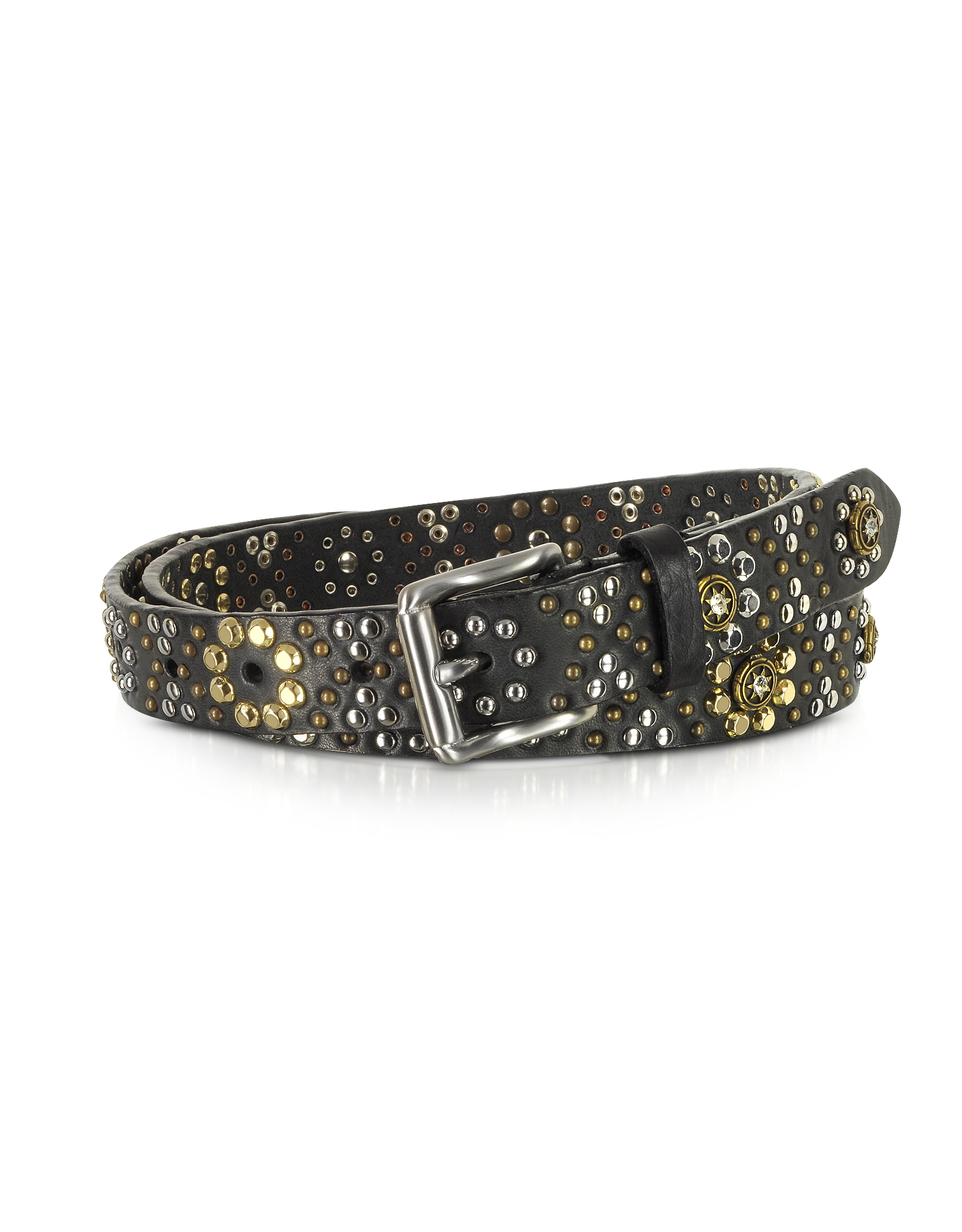 forzieri black studded leather belt in black lyst
