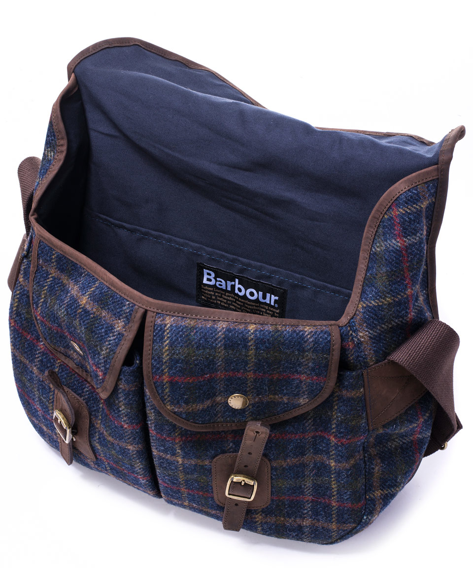 Barbour Navy Tarras Tweed Messenger Bag in Blue for Men | Lyst