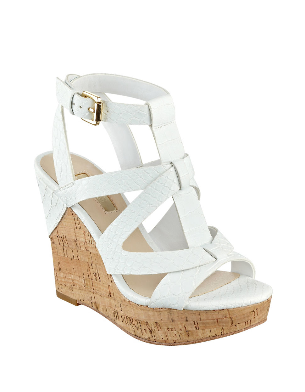 7b5c54dfa8 Guess Harlea Platform Wedge Sandals in White - Lyst
