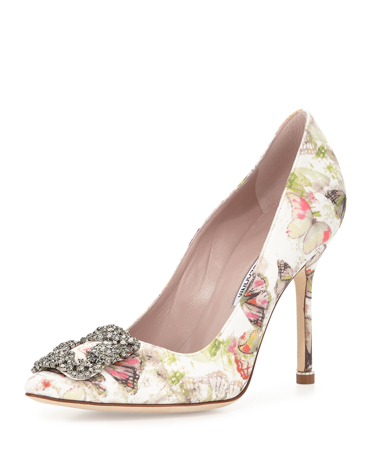 Manolo blahnik hangisi butterfly print satin pump in for Who is manolo blahnik