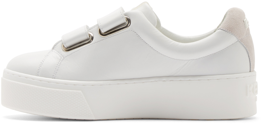 14b5e1138ee4 KENZO White Leather Velcro Platform Sneakers in White - Lyst