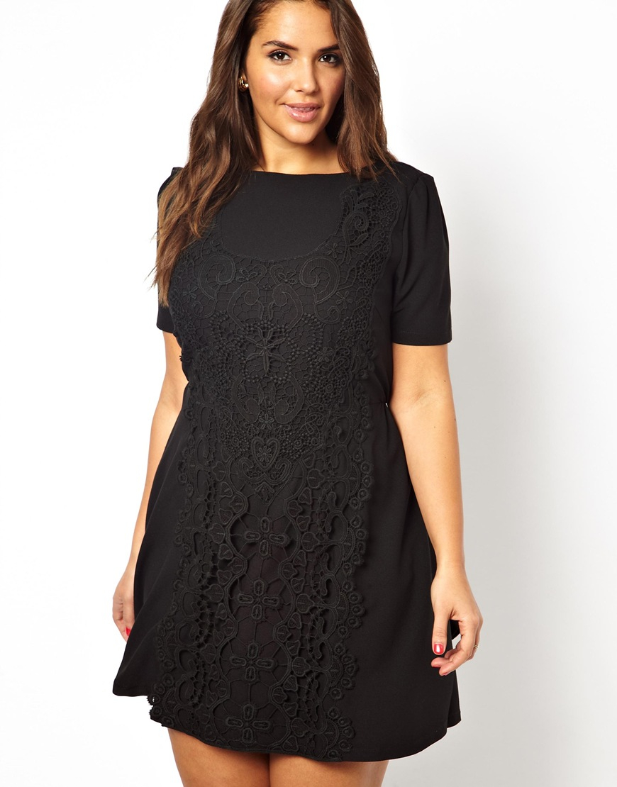 ... Size 4 check  Lyst - Ax Paris Curve Skater Dress with Lace Detail in  Black timeless design 654b9 f8b54 ... 2197e45d2