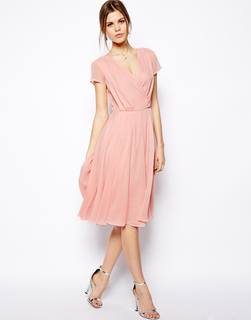 Asos Wrap Dress In Midi Length in Pink | Lyst