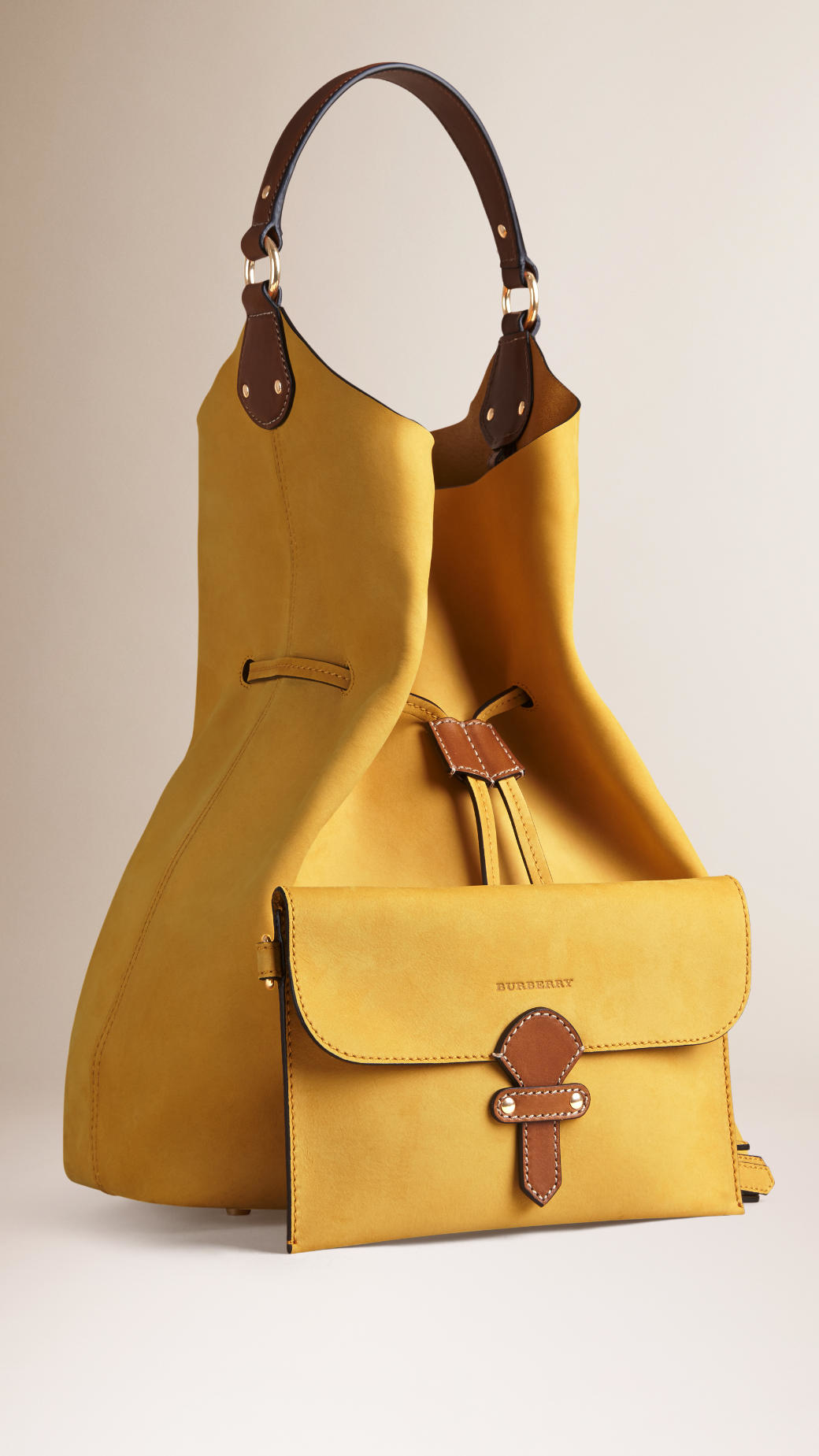 Burberry The Large Ashby Leather Bag In Yellow Lyst