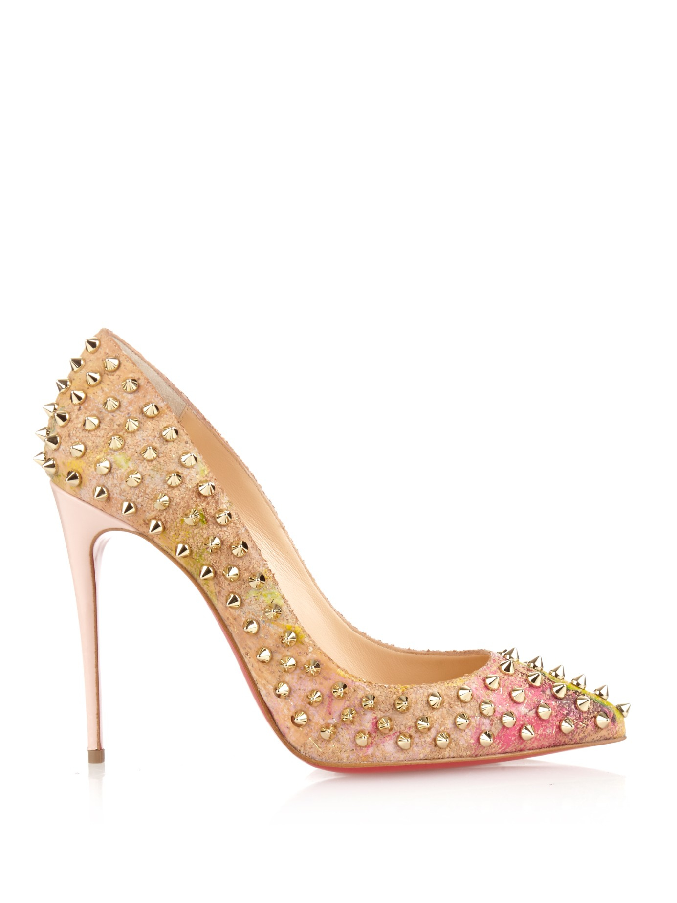 christian louboutin gold studded pumps