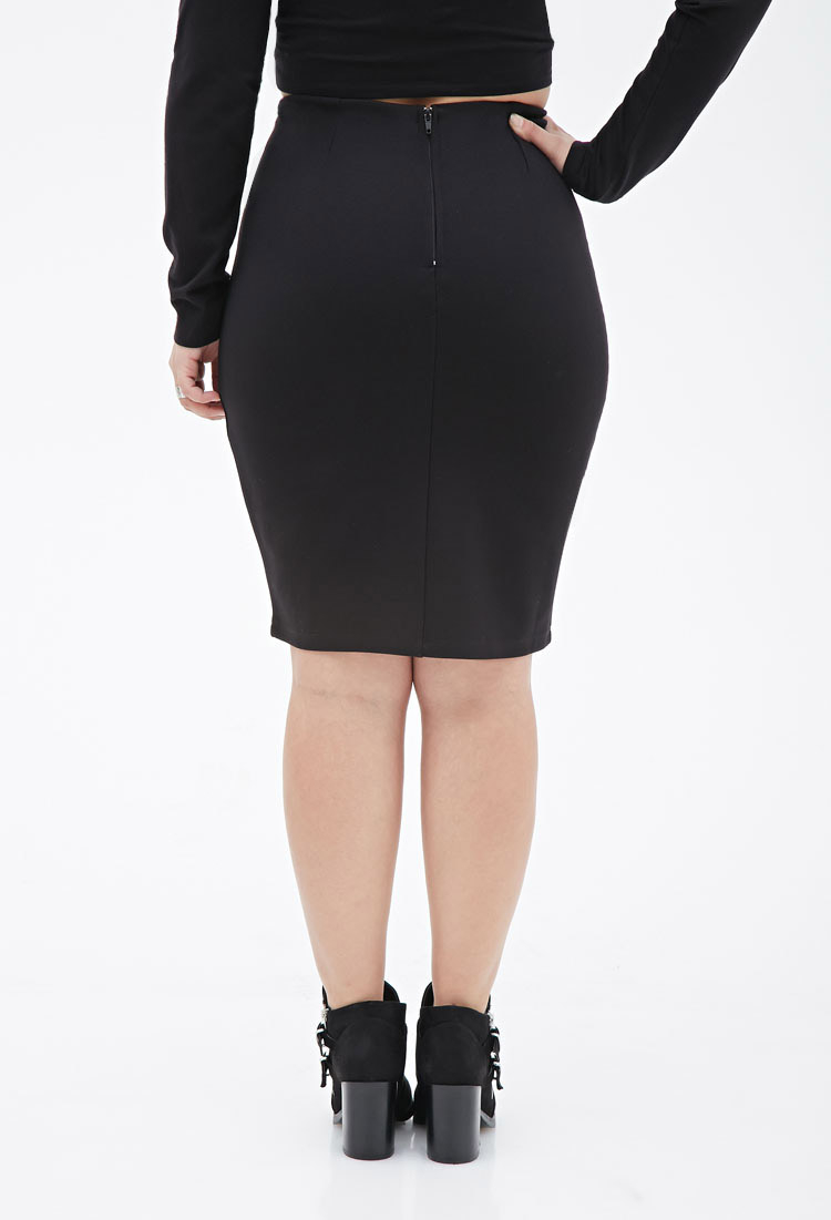 Forever 21 Plus Size Stretch-knit Pencil Skirt in Black | Lyst