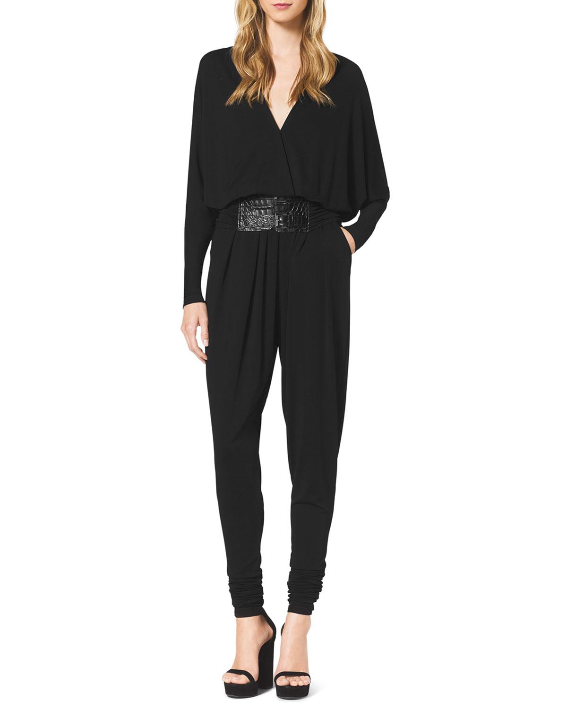 michael kors long sleeve jersey jumpsuit in black lyst. Black Bedroom Furniture Sets. Home Design Ideas