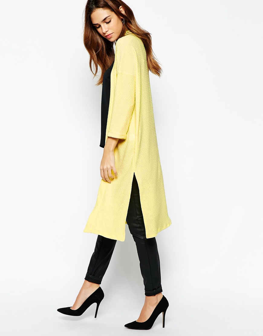 Warehouse Exclusive Jacquard Duster Coat in Yellow | Lyst