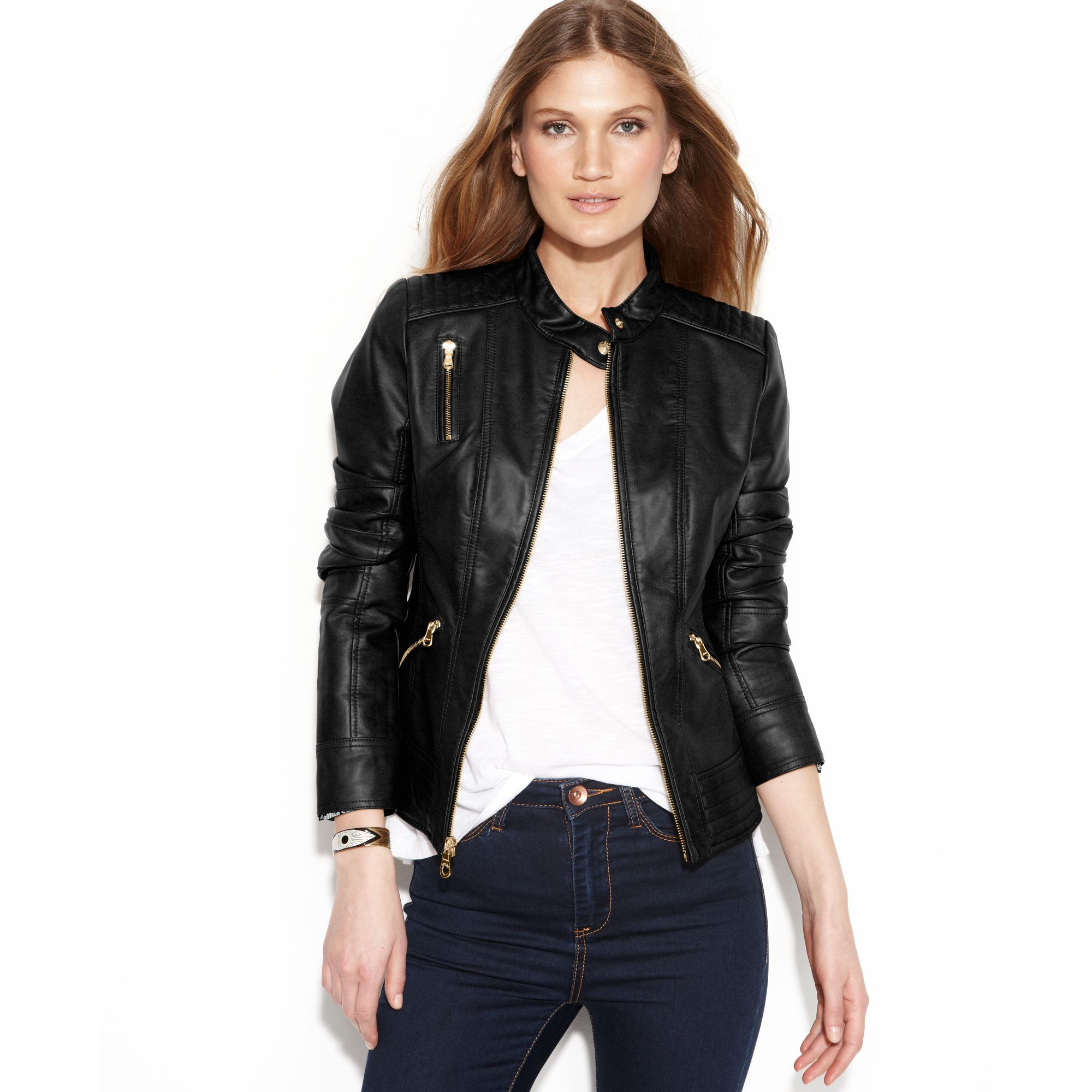 Guess Quilteddetail Fauxleather Jacket In Black Lyst