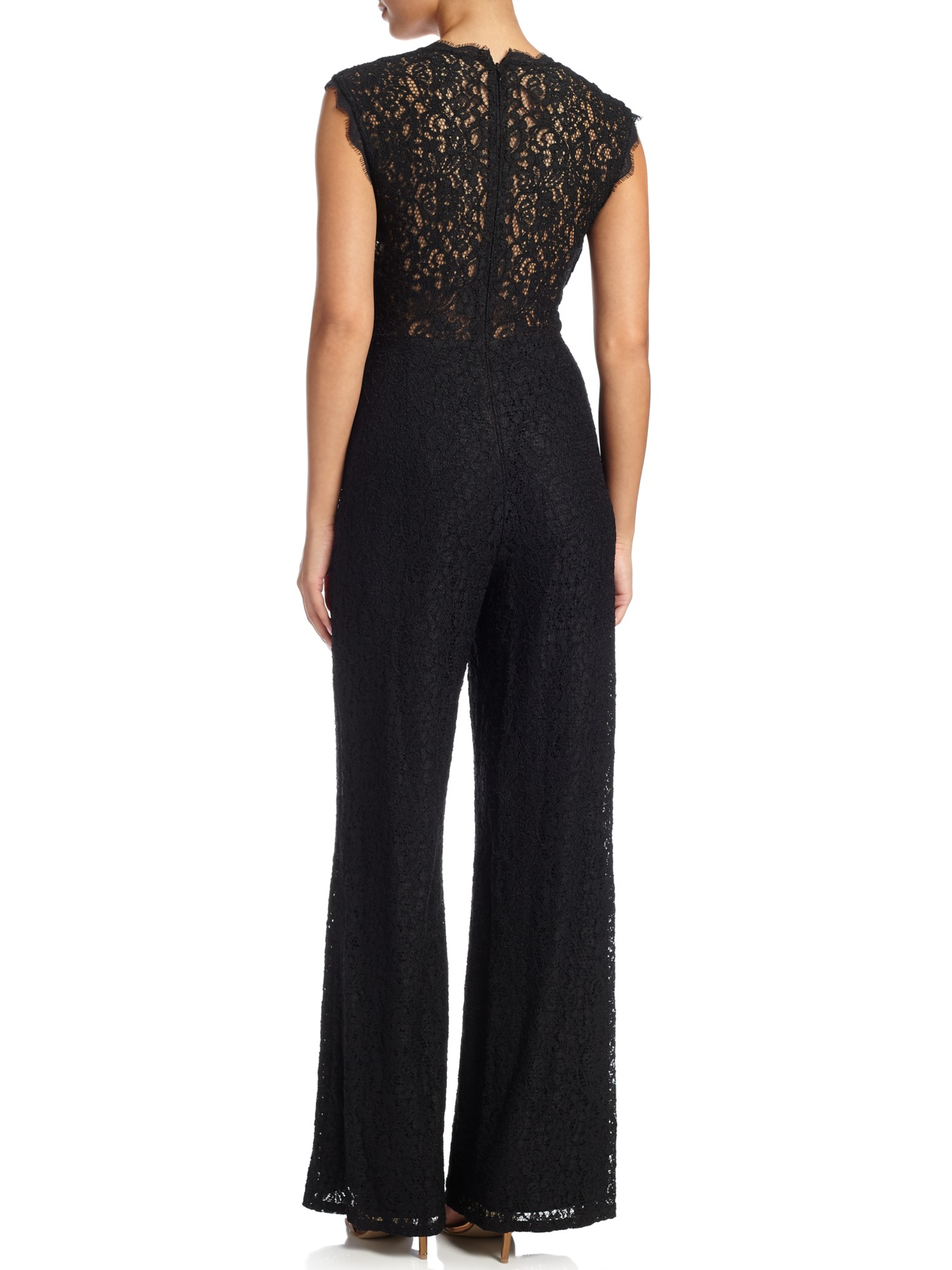 07ab09aa5b45 Adrianna Papell Sleeveless Lace Wide Leg Jumpsuit in Black - Lyst