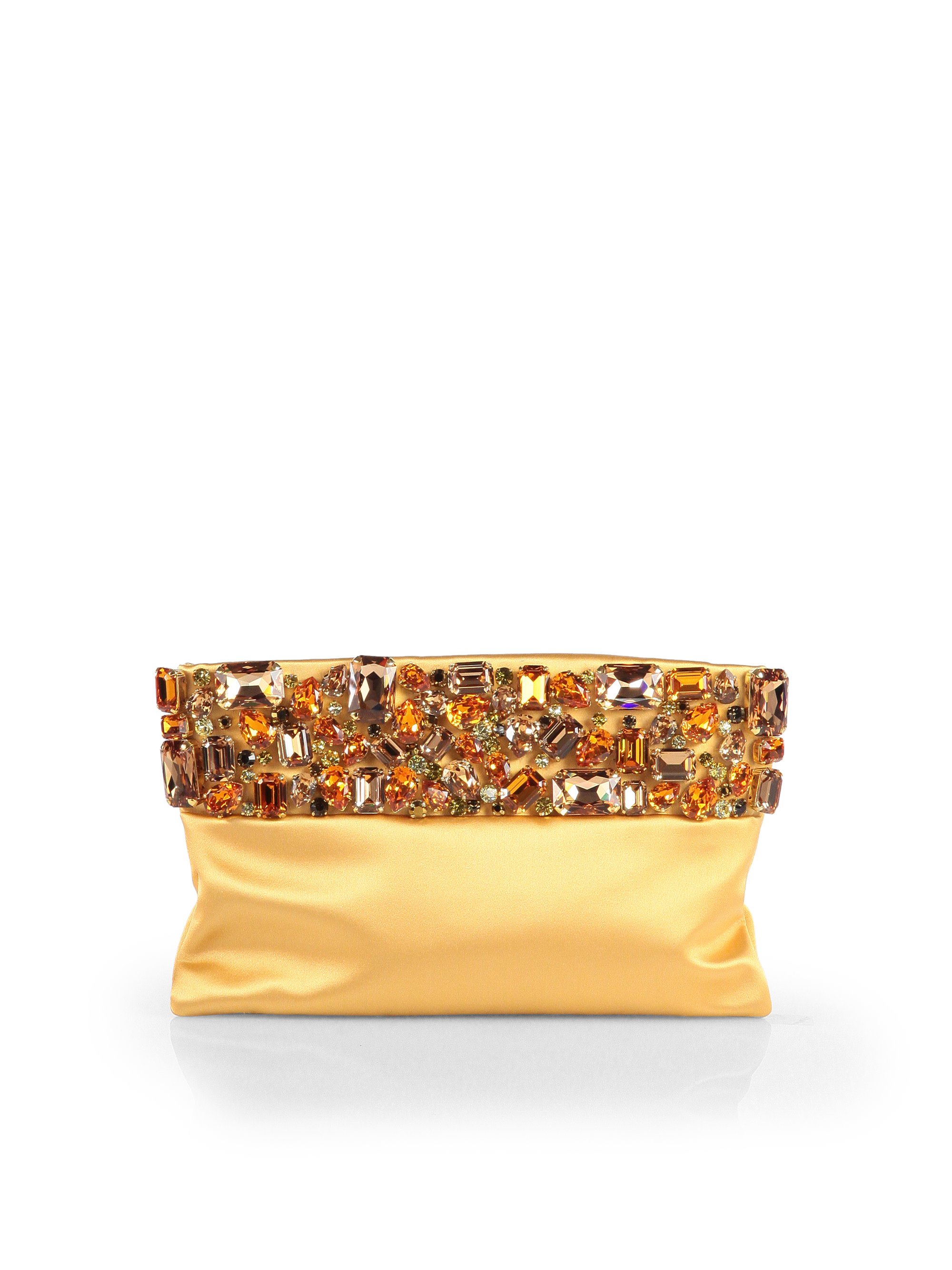 prada bag latest collection - Prada Raso Jeweled Satin Clutch in Gold (GINESTRA-GOLD) | Lyst