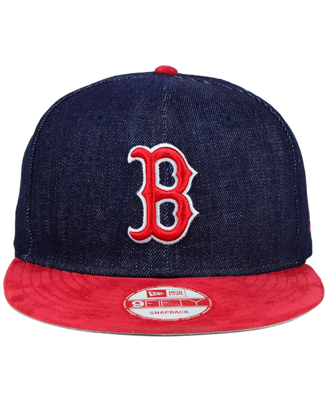 on sale c2519 ab6a5 ... discount lyst ktz boston red sox denim suede 9fifty snapback cap in blue  5daaa 807e9