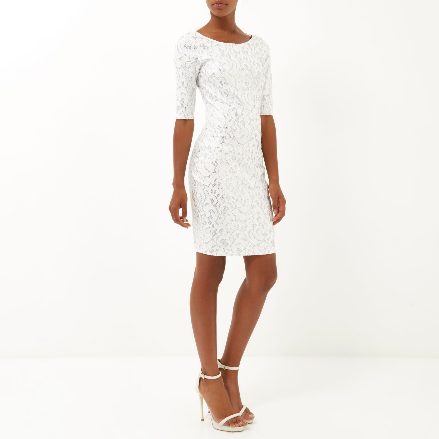 River Island White Sparkly 3 4 Sleeve Bodycon Dress in White - Lyst 0dd3d7d6b