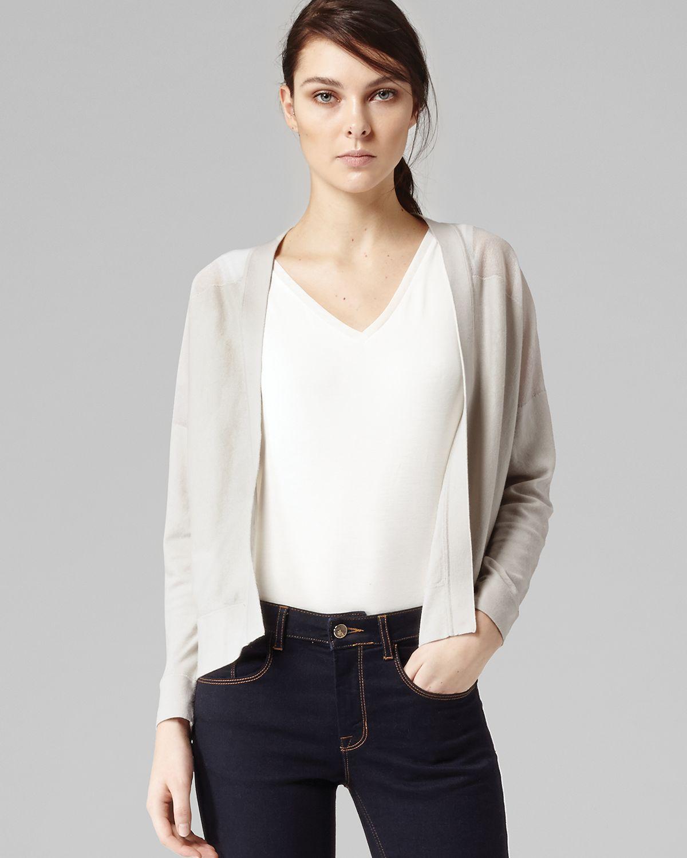 Reiss Cardigan Milna Sheer Contrast in White | Lyst