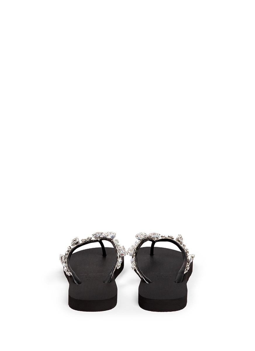 981d0173c64676 Lyst - Uzurii  jenny  Crystal Wedge Flip Flops in Black
