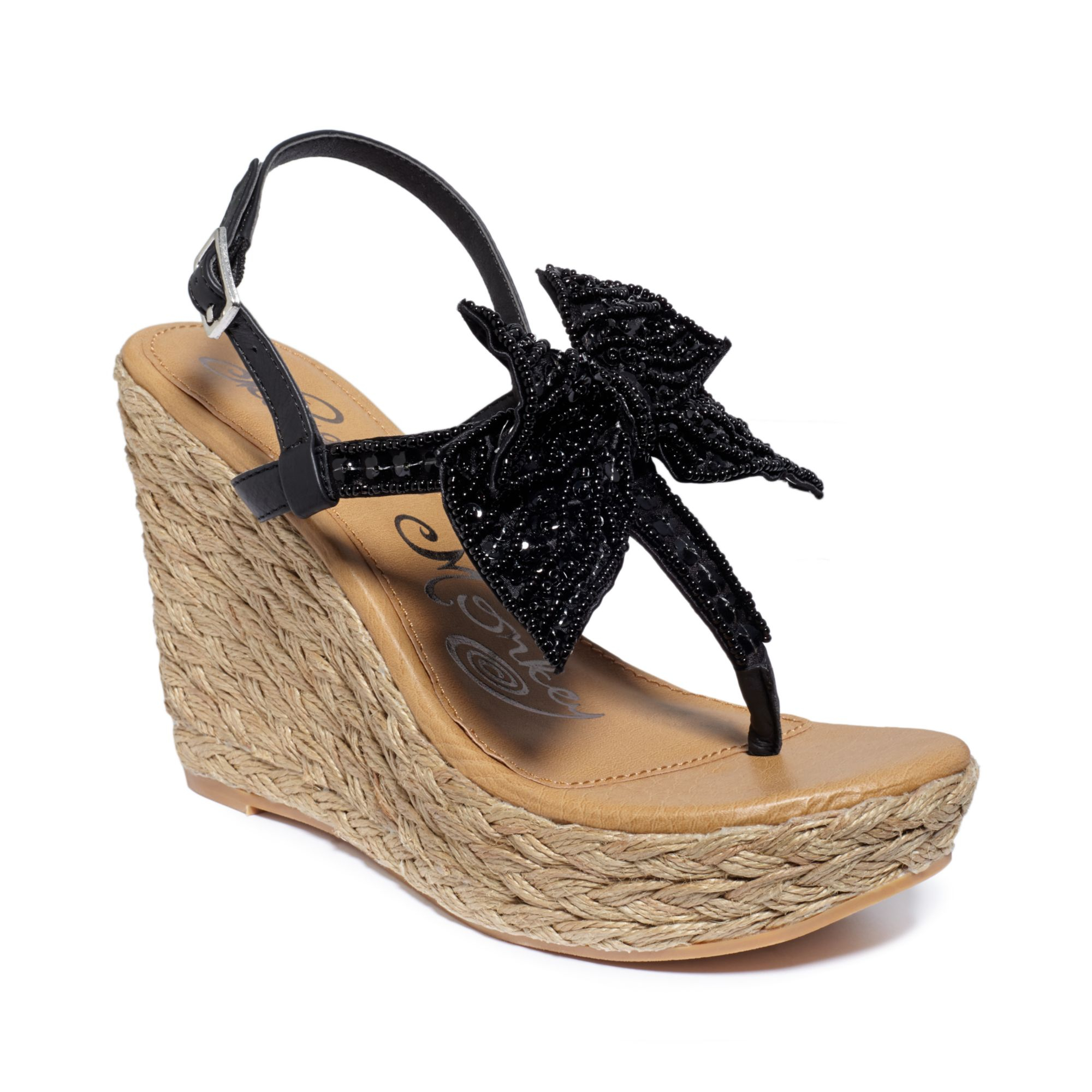 05e427c9e Lyst - Naughty Monkey Feel Free Platform Wedge Thong Sandals in Black