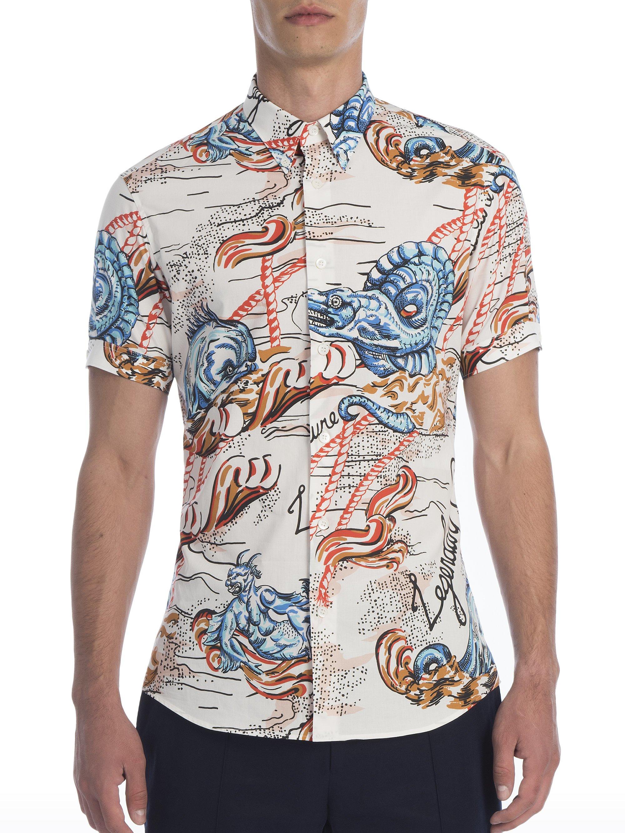 Lyst alexander mcqueen sea creature print shirt in blue for Alexander mcqueen shirt men