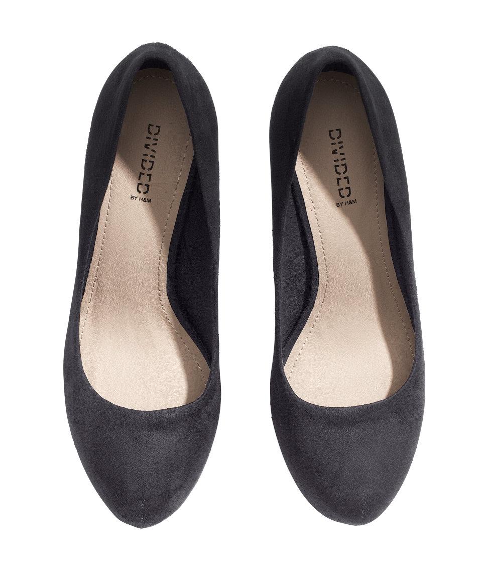 h m platform court shoes in black lyst