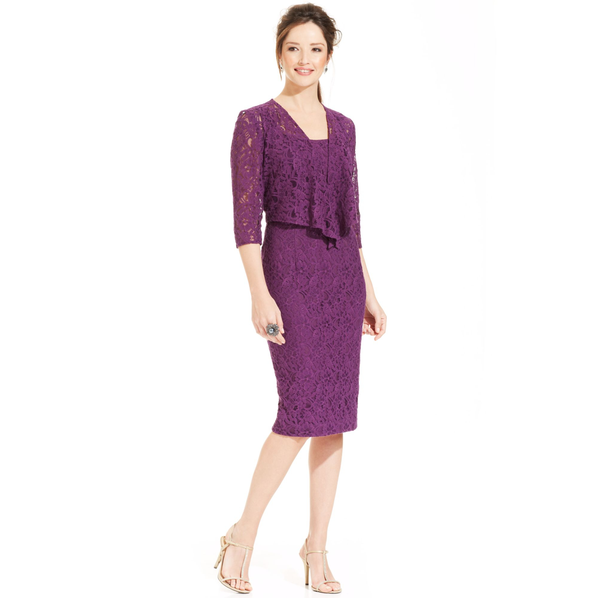 Lyst Alex Evenings Petite Sleeveless Lace Dress And Jacket In Purple