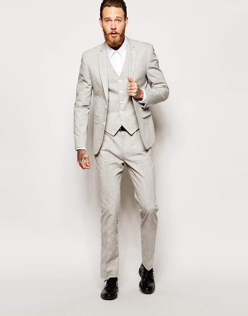 Asos Slim Fit Suit Jacket In Nepp in Gray for Men | Lyst