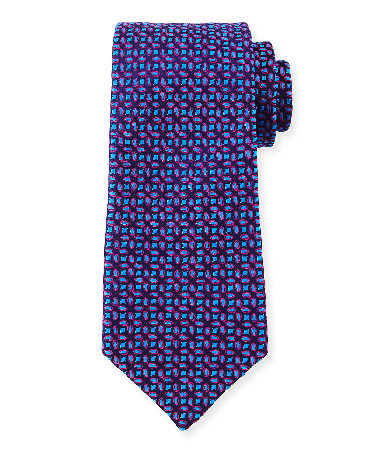 charvet floral pattern neat silk tie in blue for lyst