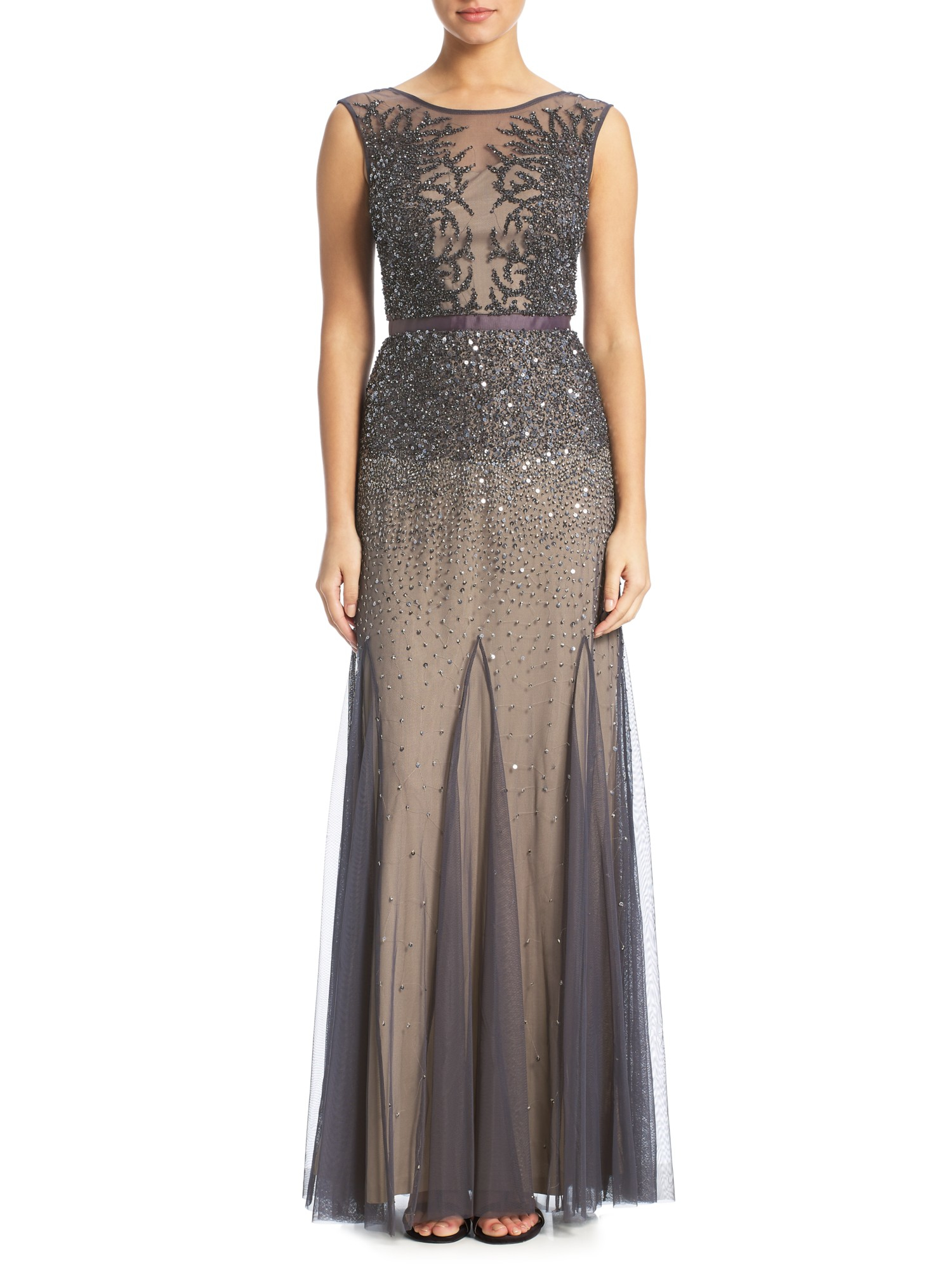 Adrianna Papell Beaded Gown With Illusion Neck in Gray - Lyst