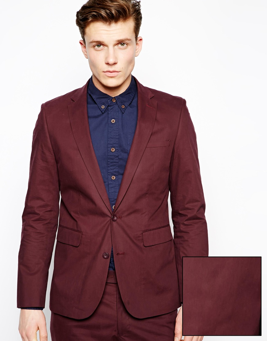 Asos Slim Fit Suit Jacket In Poplin in Red for Men | Lyst