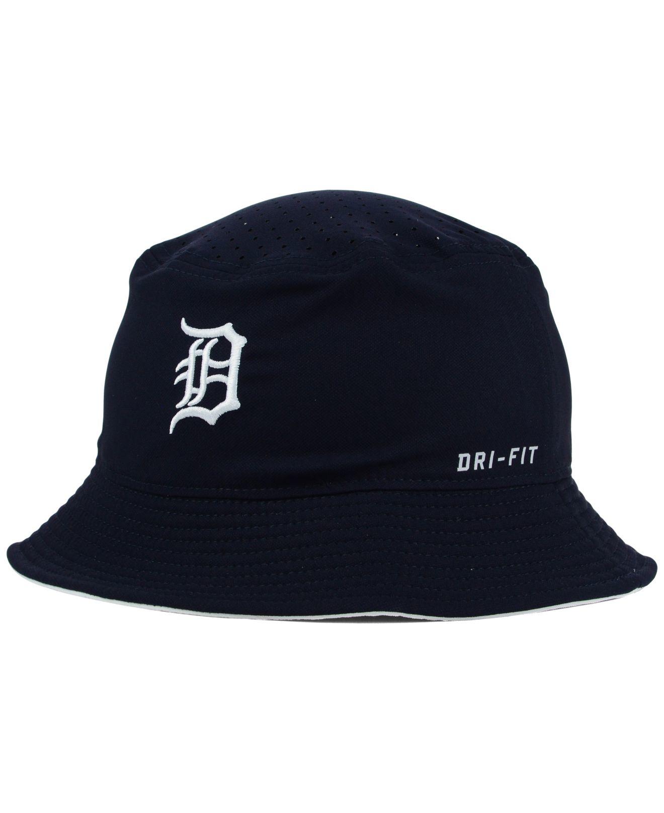 nike detroit tigers vapor drifit bucket hat in blue for