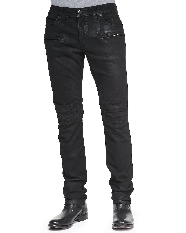 Robin S Jean Coated Moto Skinny Leg Jeans In Black For Men