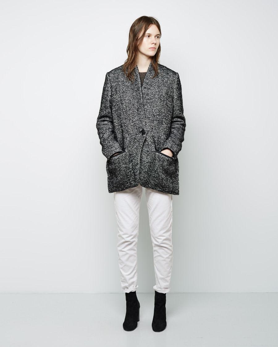 toile isabel marant denver short herringbone coat in black lyst. Black Bedroom Furniture Sets. Home Design Ideas