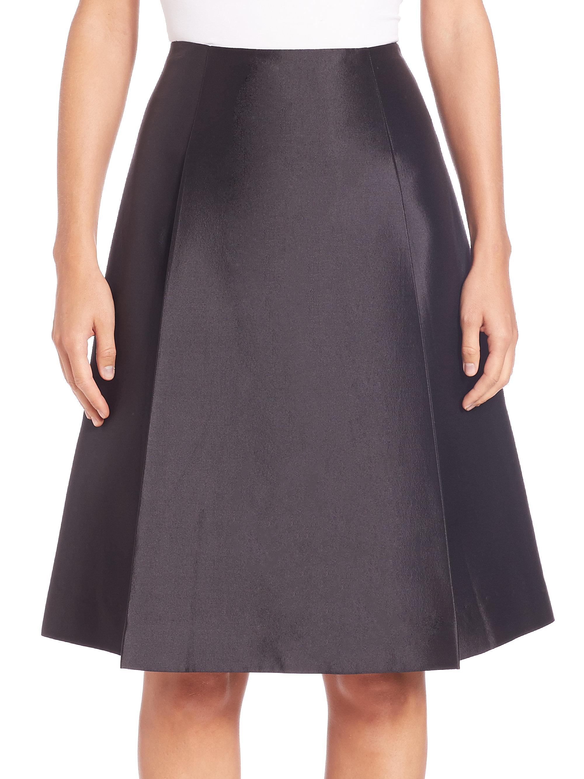 teri jon silk wool a line skirt in black lyst