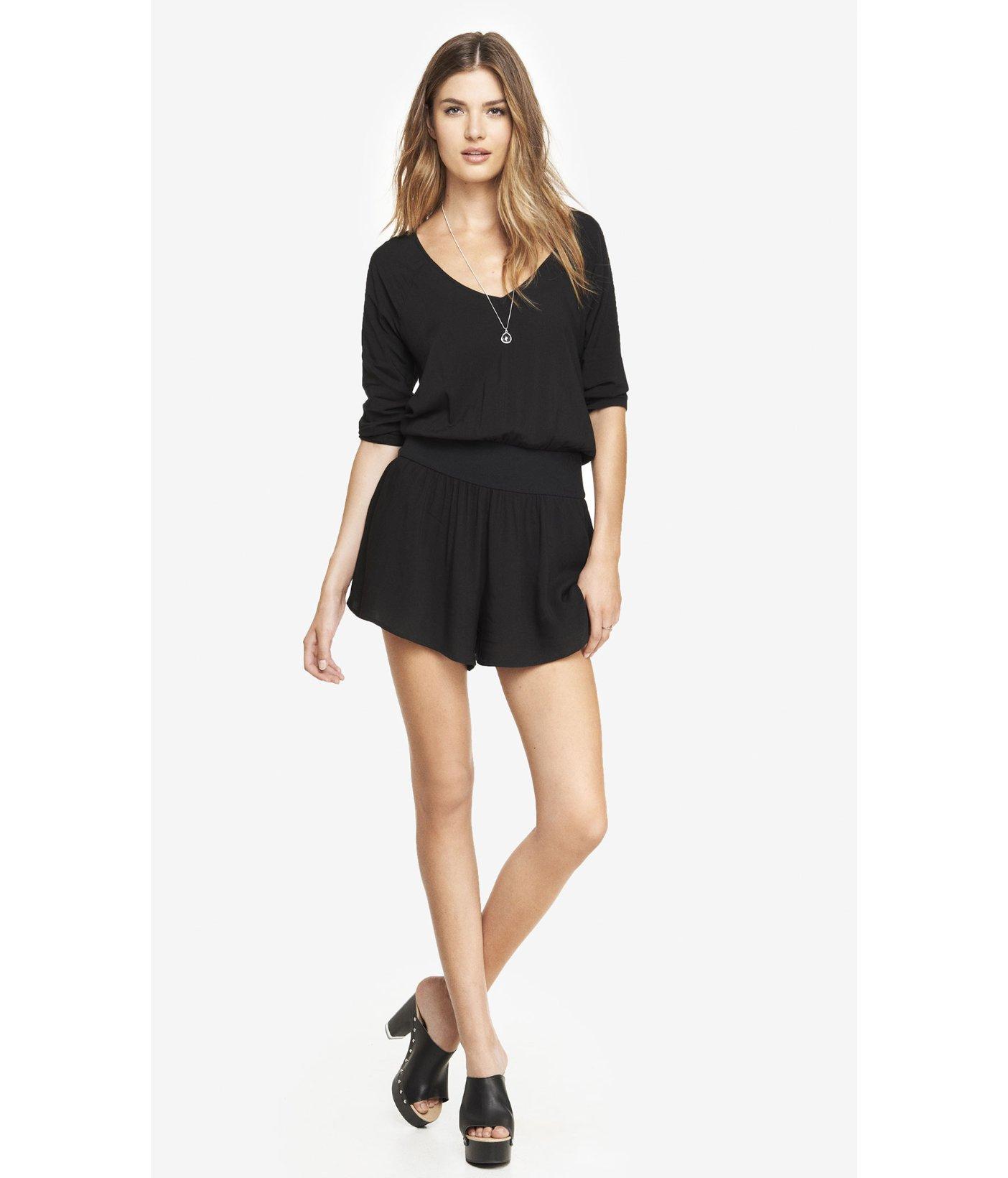 a660389d9cdd Lyst - Express Deep V-Neck Knit Waist Romper - Black in Black