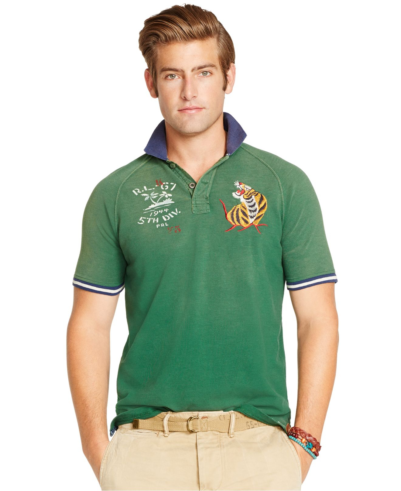 Lyst polo ralph lauren embroidered polo shirt in green for The tour jacket polo shirt