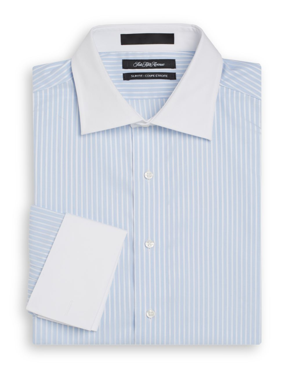 Saks fifth avenue slim fit striped french cuff dress shirt for French cuff slim fit dress shirt
