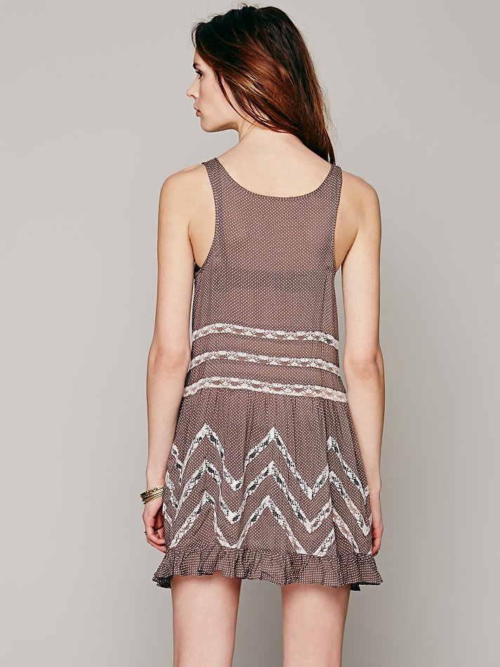 409aa05ccd80 Free People Voile And Lace Trapeze Slip in Brown - Lyst