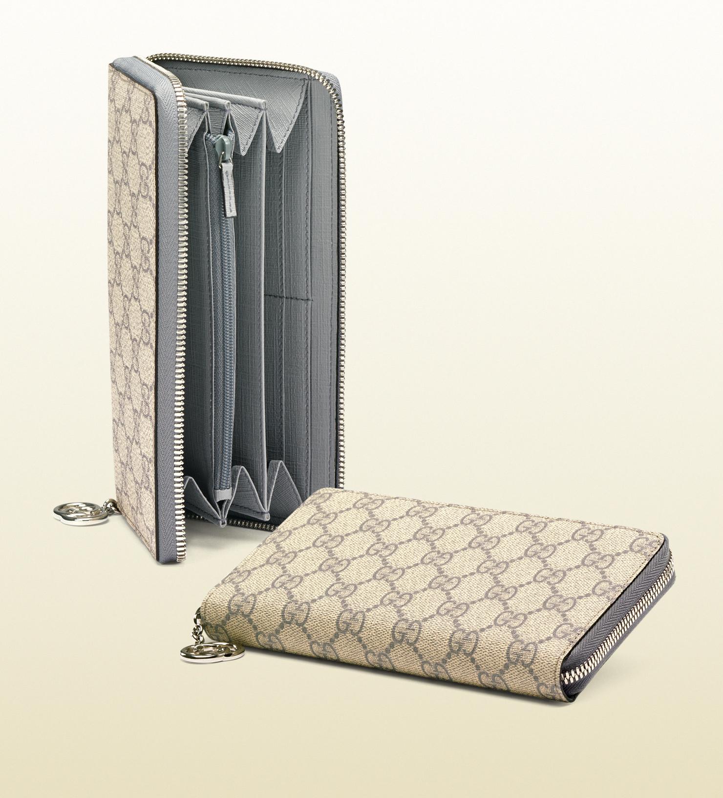 157f2b9e8f8 Lyst - Gucci Gg Supreme Canvas Zip Around Wallet in Gray for Men