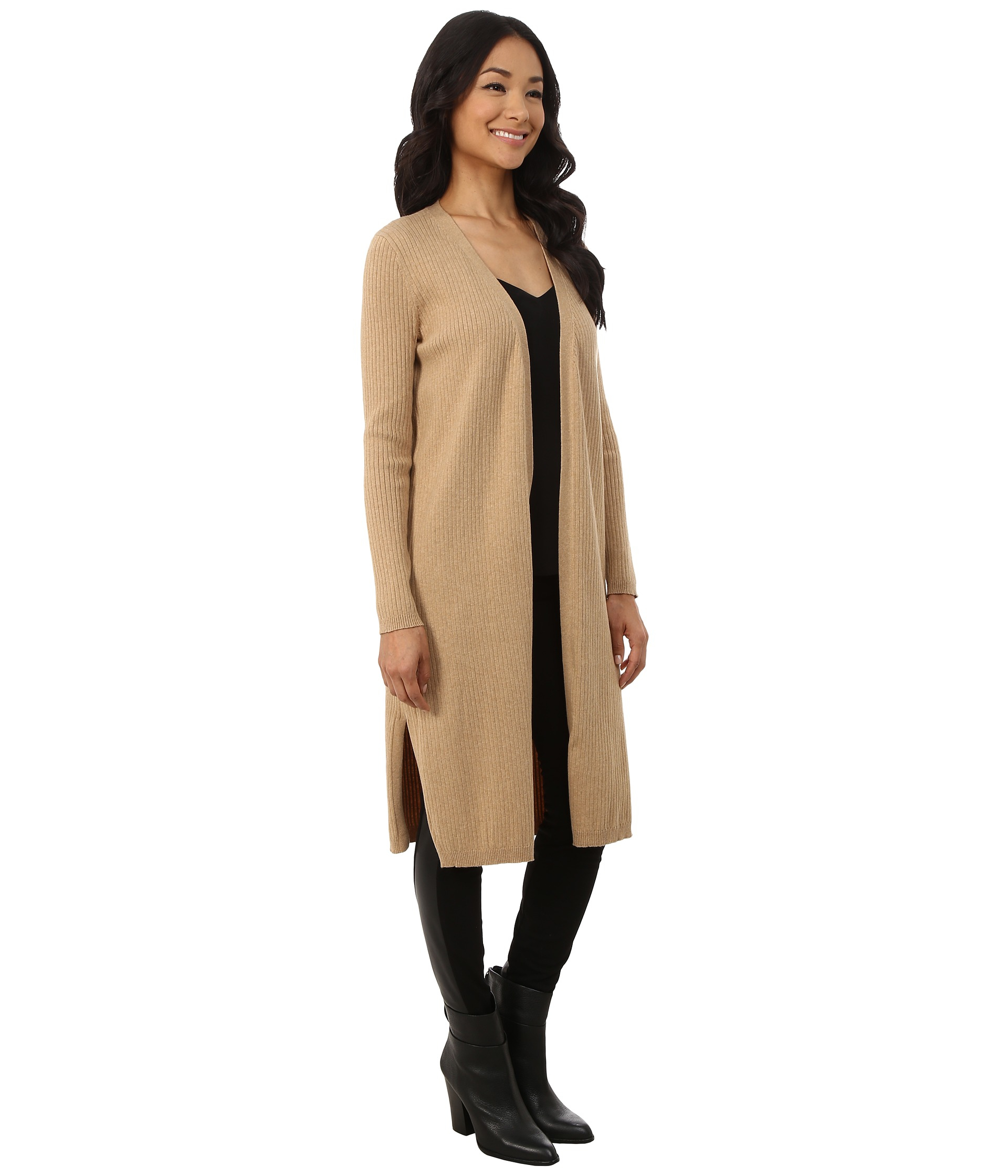 Vince camuto Ribbed Maxi Cardigan in Brown | Lyst